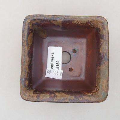 Ceramiczna miska bonsai 9 x 9 x 5,5 cm, kolor brązowy - 3