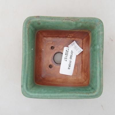 Ceramiczna miska bonsai 9 x 9 x 5,5 cm, kolor zielony - 3