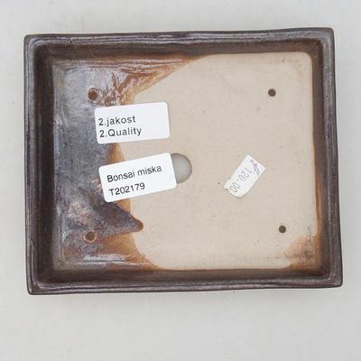 Ceramiczna miska bonsai 15,5 x 13 x 2 cm, kolor brązowy - II gatunek - 3