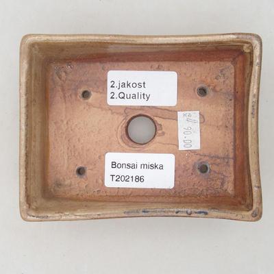 Ceramiczna miska bonsai 12,5 x 9,5 x 3,5 cm, kolor beżowy - II gatunek - 3