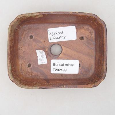 Ceramiczna miska bonsai 12,5 x 9,5 x 3 cm, kolor brązowo-zielony - II gatunek - 3