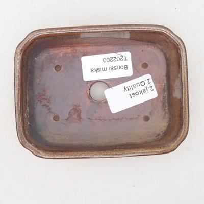 Ceramiczna miska bonsai 12,5 x 9,5 x 3 cm, kolor brązowy - II gatunek - 3