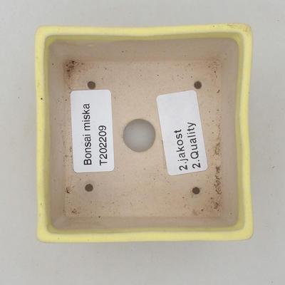 Ceramiczna miska bonsai 8,5 x 8,5 x 4,5 cm, kolor żółty - II gatunek - 3