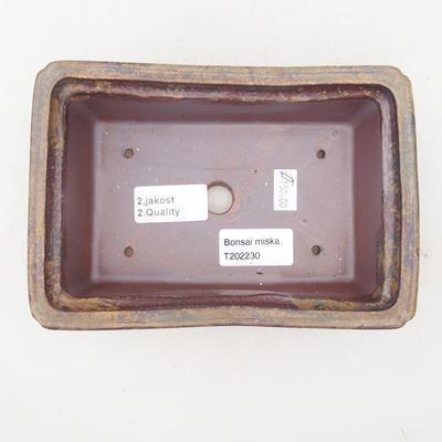 Ceramiczna miska bonsai 17,5 x 12 x 5,5 cm, kolor brązowo-zielony - II gatunek - 3