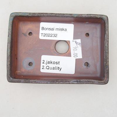 Ceramiczna miska bonsai 10,5 x 7 x 2 cm, kolor brązowo-niebieski - II gatunek - 3