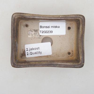 Ceramiczna miska bonsai 9,5 x 7 x 3,5 cm, kolor brązowo-zielony - II gatunek - 3