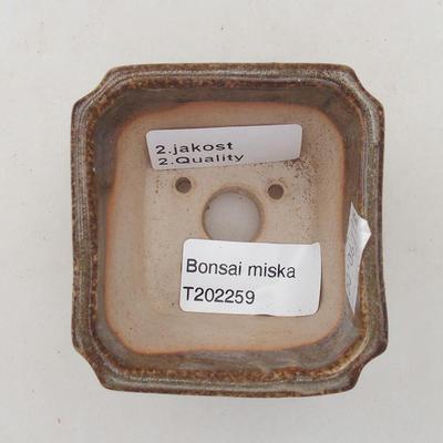 Ceramiczna miska bonsai 6,5 x 6,5 x 5,5 cm, kolor brązowo-zielony - II gatunek - 3