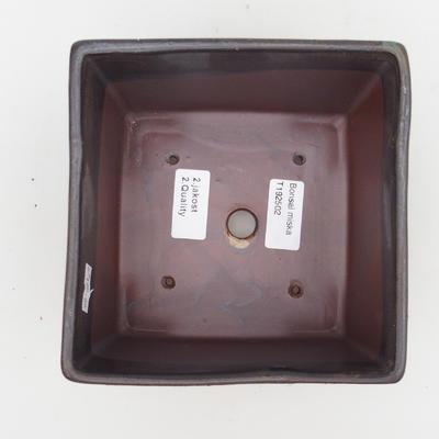 Ceramiczna miska bonsai 2. jakości - 15,5 x 15,5 x 11 cm, kolor brązowy - 3