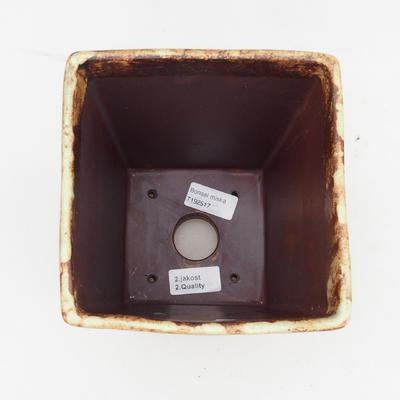 Ceramiczna miska bonsai 2. jakości - 15 x 15 x 19 cm, kolor brązowo-żółty - 3