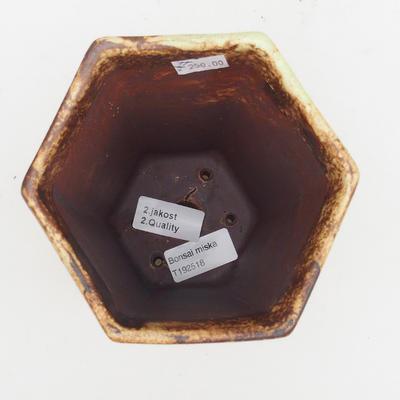 Ceramiczna miska bonsai 2. jakości - 13 x 11 x 17 cm, kolor brązowo-żółty - 3