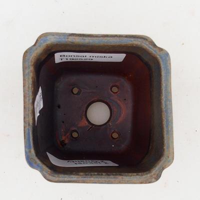 Ceramiczna miska bonsai 2. jakości - 7 x 7 x 5 cm, kolor brązowo-niebieski - 3