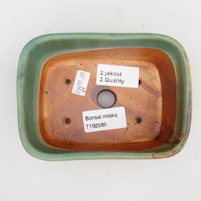 Ceramiczna miska bonsai 2. jakości - 13 x 10 x 5,5 cm, kolor brązowo-zielony - 3