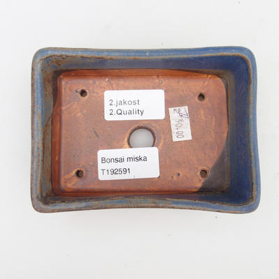Ceramiczna miska bonsai 2. jakości - 12 x 9 x 3,5 cm, kolor brązowo-niebieski - 3