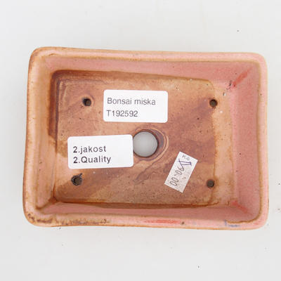 Ceramiczna miska bonsai 2. jakości - 12 x 9 x 3,5 cm, kolor brązowo-różowy - 3