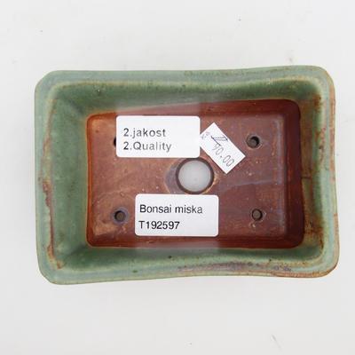 Ceramiczna miska bonsai 2. jakości - 12 x 8 x 4 cm, kolor brązowo-zielony - 3