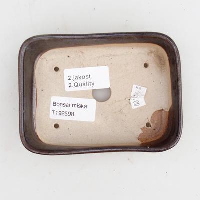 Ceramiczna miska bonsai 2. jakości - 12,5 x 9,5 x 3 cm, kolor brązowy - 3