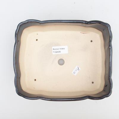 Ceramiczna miska bonsai 2. jakości - 20 x 17 x 7 cm, kolor brązowo-niebieski - 3