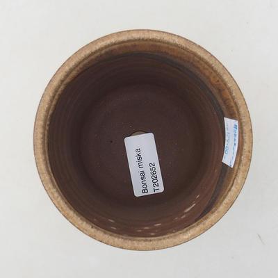 Ceramiczna miska bonsai 9,5 x 9,5 x 9 cm, kolor beżowy - 3