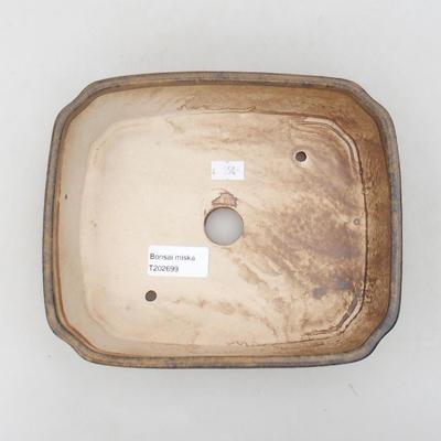 Ceramiczna miska bonsai 20 x 17 x 5,5 cm, kolor brązowy - 3