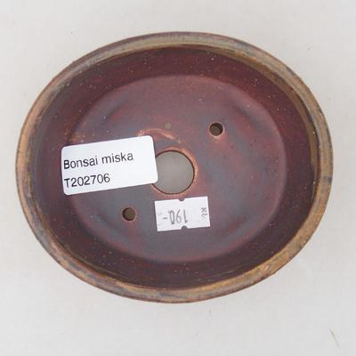 Ceramiczna miska bonsai 10,5 x 9 x 4,5 cm, kolor brązowy - 3