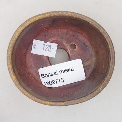 Ceramiczna miska bonsai 7,5 x 6,5 x 3,5 cm, kolor brązowy - 3