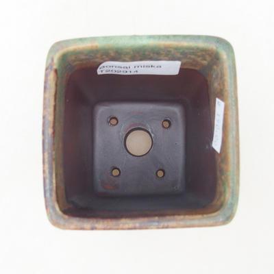 Ceramiczna miska bonsai 8 x 8 x 10,5 cm, kolor brązowo-zielony - 3