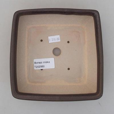 Ceramiczna miska bonsai 15 x 15 x 5,5 cm, kolor brązowy - 3