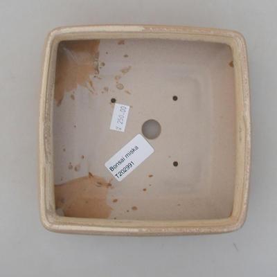 Ceramiczna miska bonsai 15 x 15 x 5,5 cm, kolor beżowy - 3