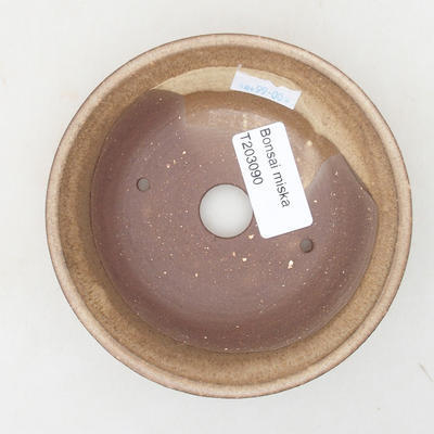 Ceramiczna miska bonsai 11,5 x 11,5 x 3 cm, kolor beżowy - 3
