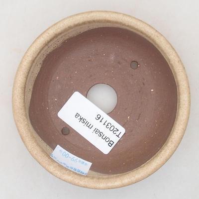 Ceramiczna miska bonsai 9 x 9 x 2,5 cm, kolor beżowy - 3