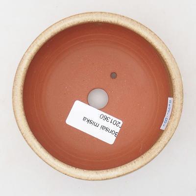 Ceramiczna miska bonsai 10,5 x 10,5 x 4 cm, kolor beżowy - 3
