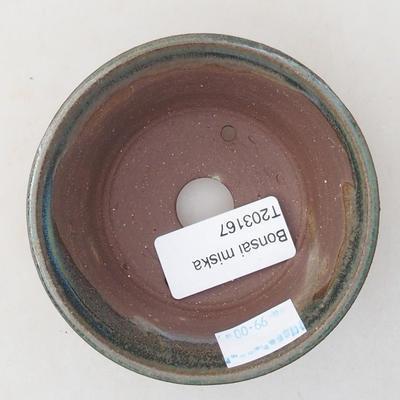 Ceramiczna miska bonsai 9 x 9 x 4 cm, kolor zielony - 3