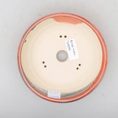 Ceramiczna miska bonsai 15 x 15 x 4 cm, kolor bordowy - 3