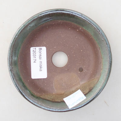 Ceramiczna miska bonsai 11,5 x 11,5 x 2,5 cm, kolor zielony - 3