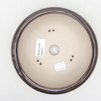 Ceramiczna miska bonsai 15 x 15 x 6 cm, kolor brązowy - 3