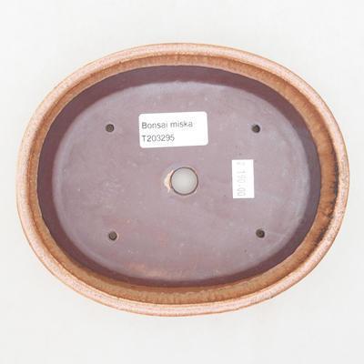Ceramiczna miska bonsai 17 x 14 x 4 cm, kolor brązowo-różowy - 3