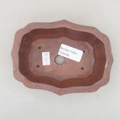 Ceramiczna miska bonsai 14 x 10,5 x 4 cm, kolor brązowy - 3