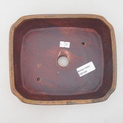 Ceramiczna miska bonsai 20,5 x 17,5 x 6 cm, kolor brązowy - 3