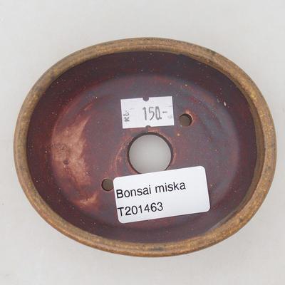 Ceramiczna miska bonsai 9,5 x 8,5 x 3,5 cm, kolor brązowy - 3