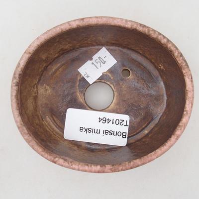 Ceramiczna miska bonsai 9,5 x 8,5 x 3,5 cm, kolor brązowo-różowy - 3