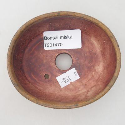 Ceramiczna miska bonsai 10 x 8,5 x 3,5 cm, kolor brązowy - 3
