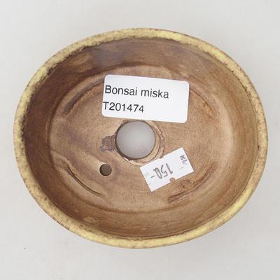 Ceramiczna miska bonsai 10 x 8,5 x 3,5 cm, kolor brązowo-żółty - 3