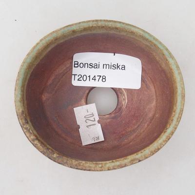 Ceramiczne bonsai miska 8 7 x 4 cm, kolor brązowy, zielony - 3