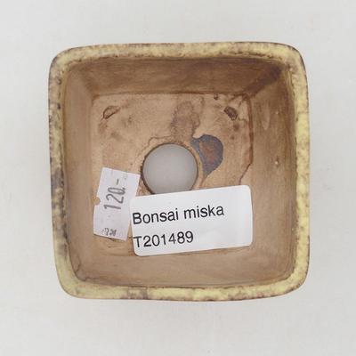 Ceramiczna miska bonsai 6,5 x 6,5 x 5 cm, kolor brązowo-żółty - 3