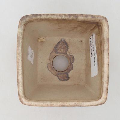 Ceramiczna miska bonsai 7 x 7 x 7 cm, kolor beżowy - 3