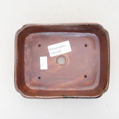 Ceramiczna miska bonsai 15 x 12 x 4 cm, kolor brązowo-czarny - 3