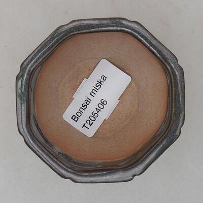 Ceramiczna miska bonsai 7 x 7 x 5,5 cm, kolor zielony - 3