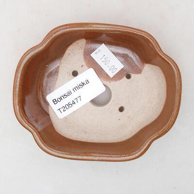 Ceramiczna miska bonsai 10 x 8,5 x 3 cm, kolor brązowy - 3