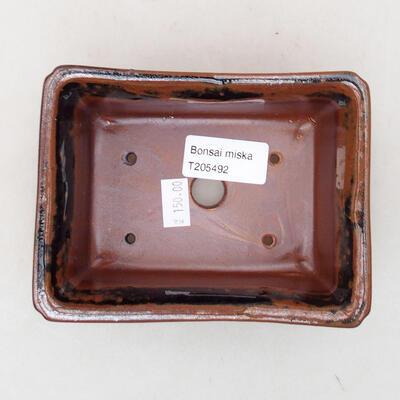 Ceramiczna miska bonsai 13 x 10 x 5 cm, kolor czarno-brązowy - 3