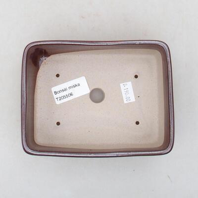 Ceramiczna miska bonsai 14,5 x 11 x 5 cm, kolor brązowy - 3